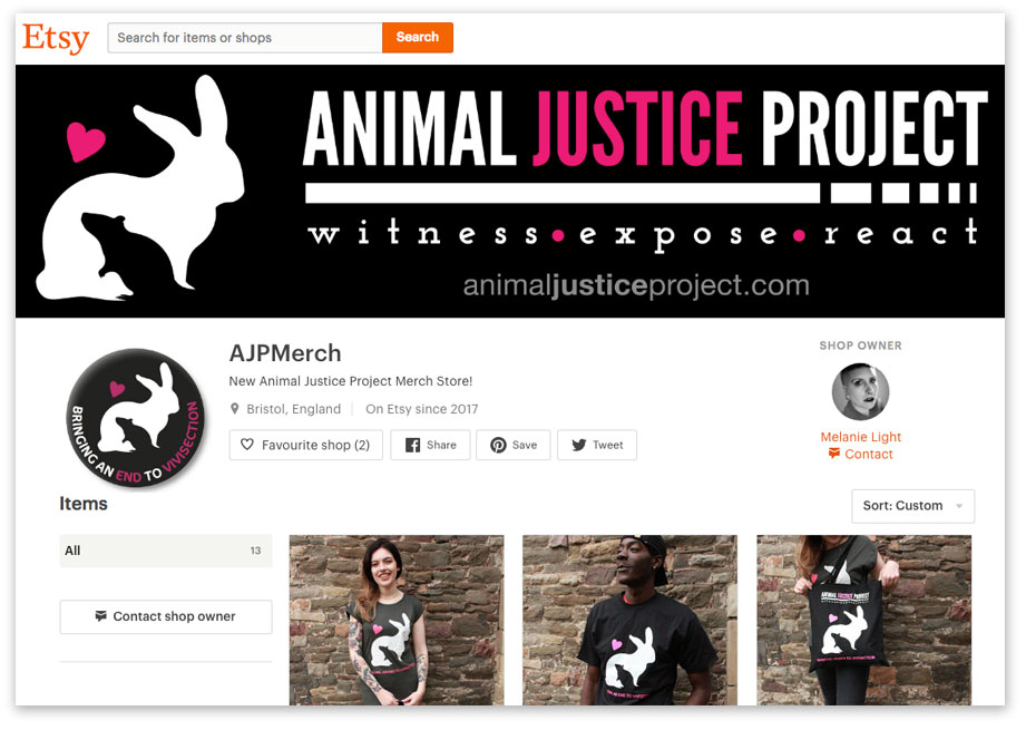 Visit the Animal Justice Project Etsy Shop: AJPMerch