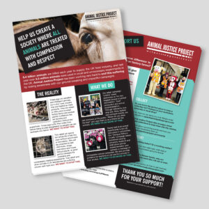 Animal Justice Project Fundraising leaflets